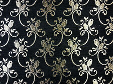 TEX EX 1148 LOUVRE BLACK GOLD CURTAIN FURNISHING LIGHT UPHOLSTERY FABRIC DAMASK