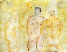 watercolor NUDE Male painting 3 men in a shower Esteban Realism Signed 1/7/50
