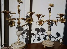 Pair Antique 19th Candelabra French candlesticks Dore Bronze albast flowers