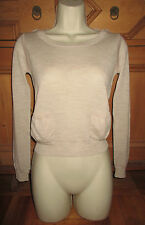 CHLOE CIMENT MERINO WOOL POCKET/SEAM DETAIL CROPPED SWEATER XS