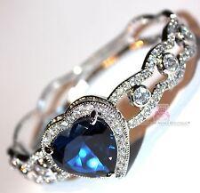 Love Womens Ladies Heart for Jerusalem Sapphire Ocean Blue Cz Gala Cuff Bracelet