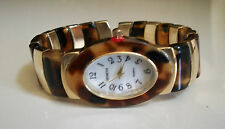 GOLD/TORTOISE SHELL FINISH  DESIGNER STYLE WOMEN'S BANGLE CUFF WATCH