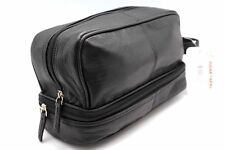 Twin Section Black Leather Toiletry Shaving Kit Makeup Cosmatic Travel Pouch JTC