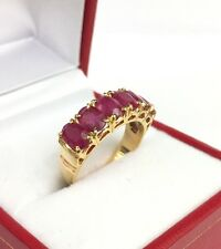 14k Solid Yellow Gold One Row  Band Ring, Natural Ruby 3.5TCW, Sz 7