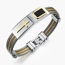 Pure Stainless Steel 3-row Cable Wire Cuff  Cross Bangle Bracelet XMAS Gifts
