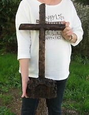 Croix d'autel en chêne sculpté XIXe. Carmel de Raray.
