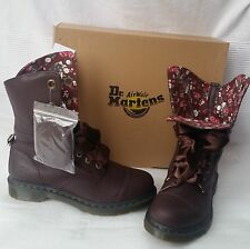 DR.MARTENS Aimilie Brown Oxblood 9 Eye Leather Fold-Down Boots Size UK 3 EU 36