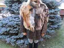 GIACCA pelle e pelliccia con VOLPE rossa tg.44