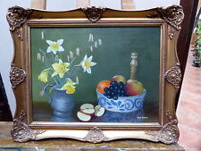 OIL ON CANVAS FRUIT AND FLOWERS ARTIST NINA SEXTON  FREE SHIPPING