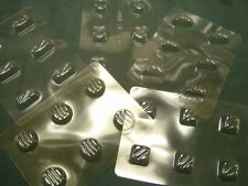5 SHEETS OF CHOCOLATE MOULDS/MOLDS FOR HOME-MADE SWEETS - round/square/heart etc