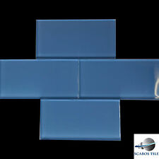 "BLUE SUBWAY GLASS TILE 3""x6"" Kitchen Backsplash Bathroom Wall by SCABOS TILE"