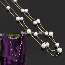 Corea Nuova Moda Donna Gioielli Perla Doppio Strato Collana Lunga