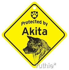 Protected by Akita Dog Window Sign Made in USA