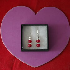 Superb 925 Silver Earrings With Faceted Indian Ruby 3 Cm. Long + Hooks In Box