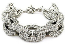 Silver Chunky Pave Classic Crew Link Chain Bracelet w/1,500+ Crystals