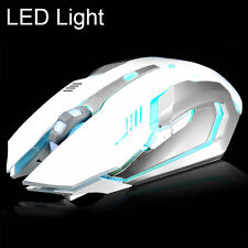 Rechargeable 2.4GHz Wireless Silent LED Light USB Ergonomic Gaming Mouse White