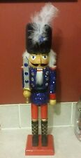 "Soldier Nutcracker 15"" Sword Blue Red Black Fur Hat Sequins Christmas"