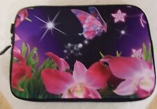 "Laptop bag sleeve case 7"" for mini laptop with pattern butterflies and flowers"