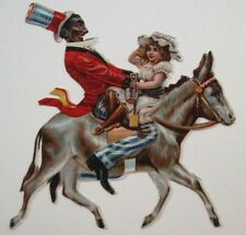 Vintage Die Cut of Black Americana w/ Black Man & Child Riding on a Donkey *