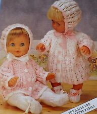 "Baby Dolls Vintage Knitting Pattern Matinee Coat Bonnet Bootees12-20"" Tall L1042"