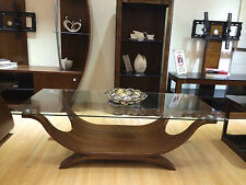 Coffee Table Walnut Veneer Clear Glass Top Rectangle Solid Wood