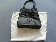 Furla Black Handbag Genuine Leather in Excellent Condition
