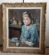 Hungarian Portrait Painting Oil On Canvas Lady In Caffe Signed Gerome By B Por