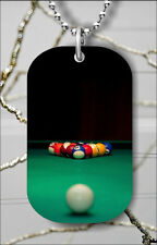 SNOOKER GAME POOL TABLE DOG TAG NECKLACE PENDANT FREE CHAIN -dcf4Z