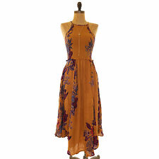 FREE PEOPLE SEASONS IN THE SUN SMOCKED SLEEVELESS FLORAL SLIP DRESS BROWN S B99
