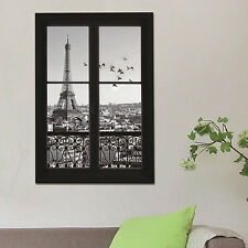 3D Scenery of Paris Eiffel Tower Print Wall Stickers DIY Decals Rooms New Trendy