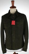 NWT ISAIA suede SHIRT JACKET lamb dark green unlined Luxury Italy eu 48 us S