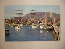 VINTAGE PHOTO POSTCARD PLEASURE & FISHING BOATS IN THE HARBOR CAMDEN MAINE 1957