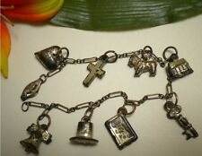 ANTIQUE VICTORIAN VTG STERLING POT SILVER PUFFY CHARM BRACELET HEART TOP HAT KEY