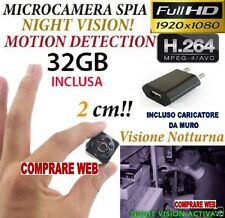 MICROSPIA SQ8 Camera Spia FULL HD MOTION DETECTION TELECAMERA NASCOSTA + SD 32GB