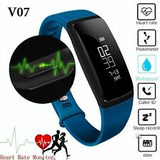 Bluetooth Sport Watch Heart Rate/Blood Pressure Monitor Smart Band Tracker Blue