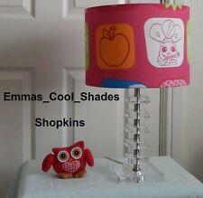 New Handmade Table Lamp Shade Shopkins Pink Design Childs Girl Bedroom Sale