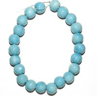 CPC173f Dark Aqua Blue 9mm - 10mm Round Porcelain Beads 8""