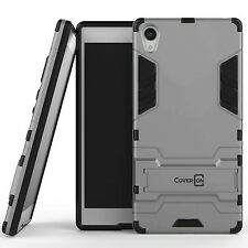 For Sony Xperia Z5 Premium Case Silver & Black Hard Hybrid Dual Layer Cover