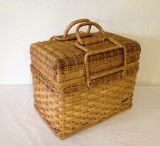 Vintage Wicker Picnic Basket Sturdy Weaved Rattan & Reed W/ 2 Latching Handles