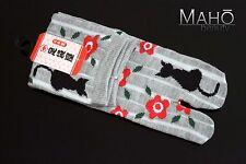 MADE IN JAPAN GREY tabi split toe socks CAT geta zori kimono flipflops 22-25 cm