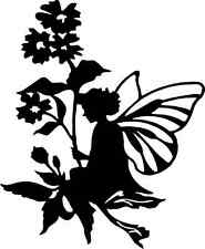 Die Cut Silhouette FAIRY ON FLOWER LEAF topper x 6 for cardmaking, crafts