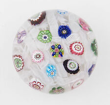 antique 19th Century Clichy millefiori chequer paperweight with rose cane