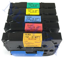5PK Black on color Label Tape Compatible for Brother TZ TZe B31 431 531 631 731