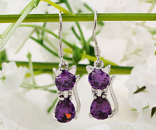 lovely purple Charm Cat Crystal Dangle 925 Sterling Silver Drop Hook Earrings