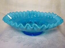 "Vintage 9"" NORTHWOOD Blue Opalescent BOWL Cut Arcs REVERSE DRAPERY Crimped Rim"