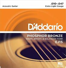 D'ADDARIO EJ15 Phosphor Bronze, EXTRA LIGHT 10-47 ACOUSTIC GUITAR STRINGS 2 PACK