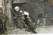 M. Riviere Old  Man DIES in LONG SLEEP - Dogs Try to Wake 1869 Print Matted