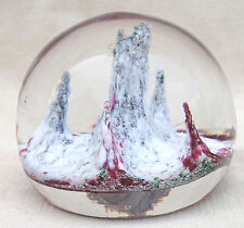 French Art Glass Paperweight Milk Cranberry Stopped Bubbles 1920