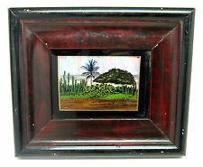 "Vintage BUTTERFLY WING Trees DESERT Cactus Scene 7.5"" X 6.5"" Framed Picture (B)"