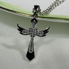 18K White Gold Filled Women Fashion Jewelry Necklace Angel Cross Pendant P2821